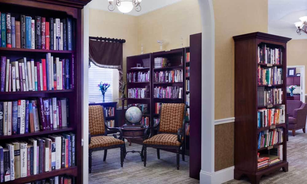 Stocked library with a quiet reading space at TigerPlace in Columbia, Missouri
