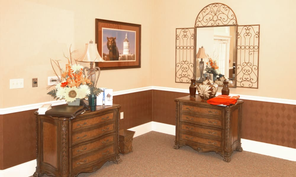 Well decorated dressers in the lobby at TigerPlace in Columbia, Missouri