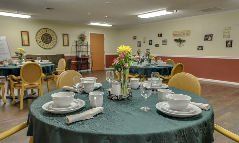 Well decorated dining room table of Galena Nursing Center in Galena, Kansas