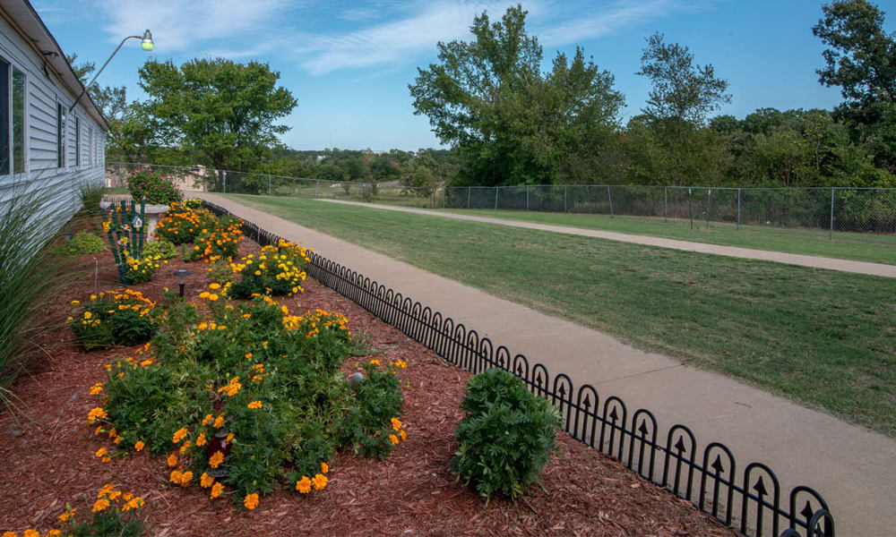 The backyard landscaping at Galena Nursing Center in Galena, Kansas