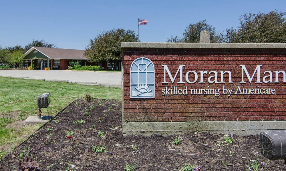 Branding and Signage outside of Moran Manor in Moran, Kansas