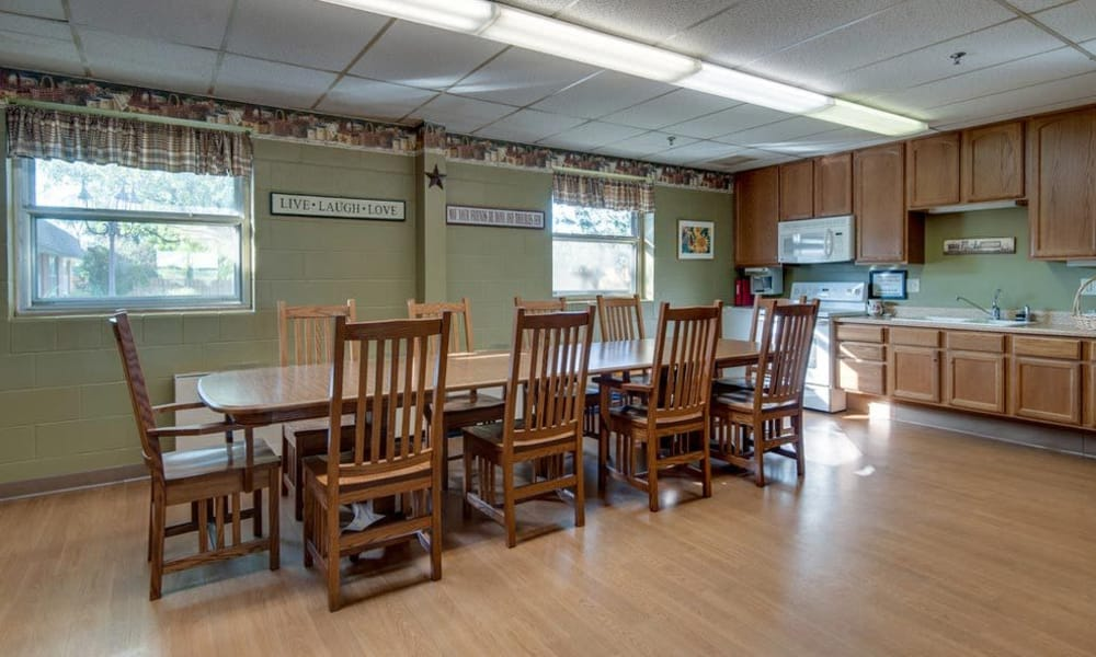 Dining area and community kitchen at Hilltop Manor in Cunningham, Kansas