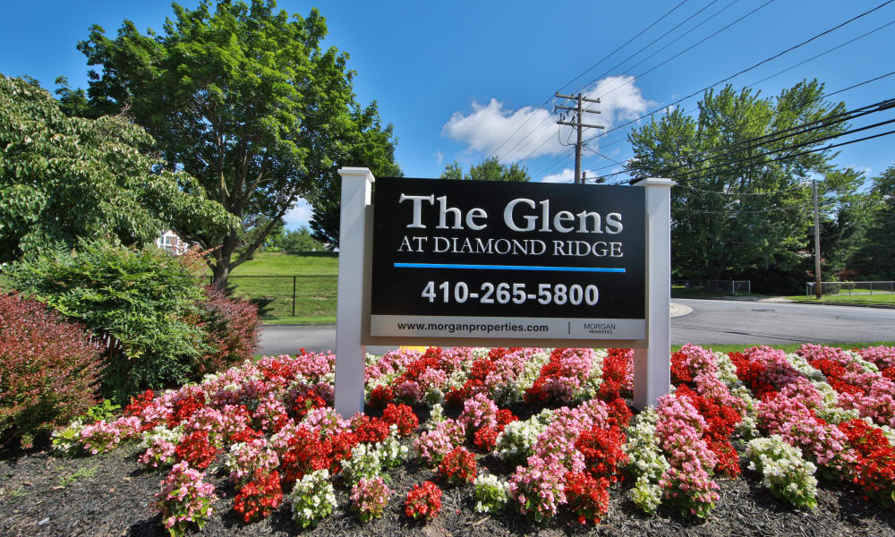 Entry Signage at The Glens at Diamond Ridge in Baltimore, Maryland