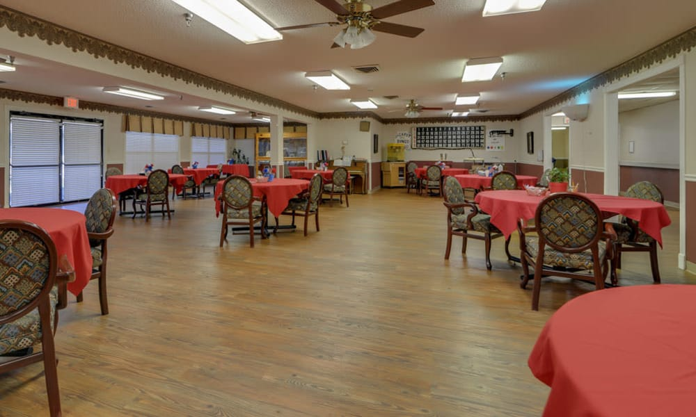 Dining area at the center of Pleasant Valley in Sedan, Kansas