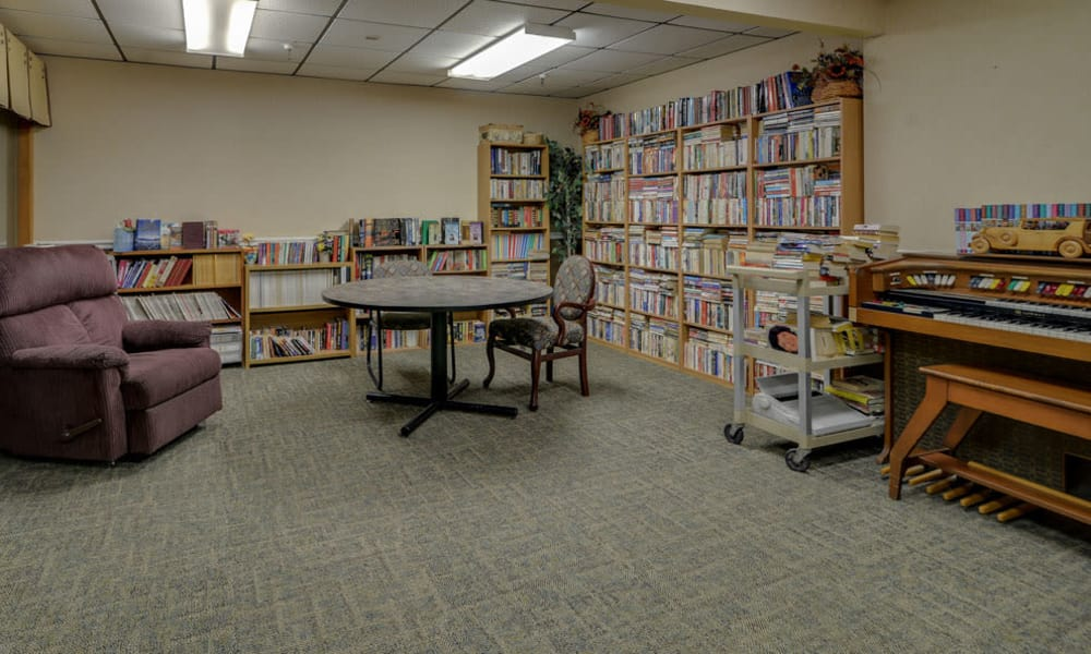 Resident library at Pleasant Valley in Sedan, KS