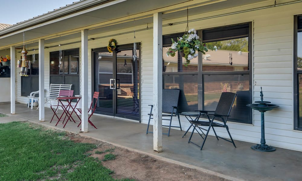 Community porch with seating at Pleasant Valley in Sedan, Kansas