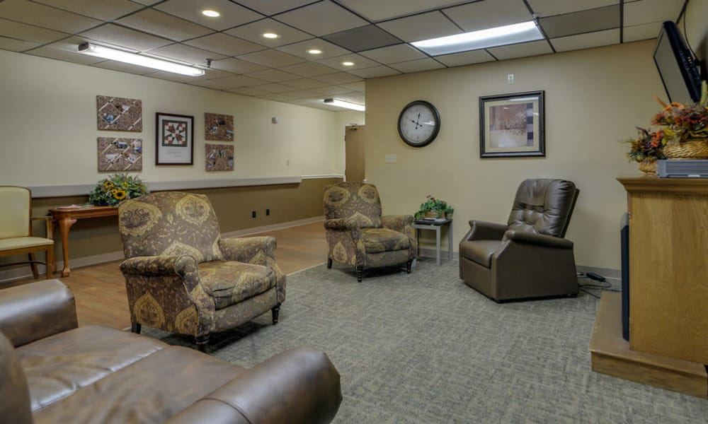 Community entertainment room with comfortable seating at Pleasant Valley in Sedan, Kansas