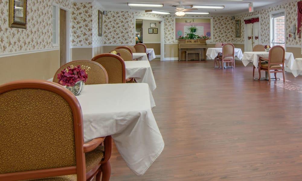 Dining area at the center of Osage Nursing Center in Osage City, Kansas