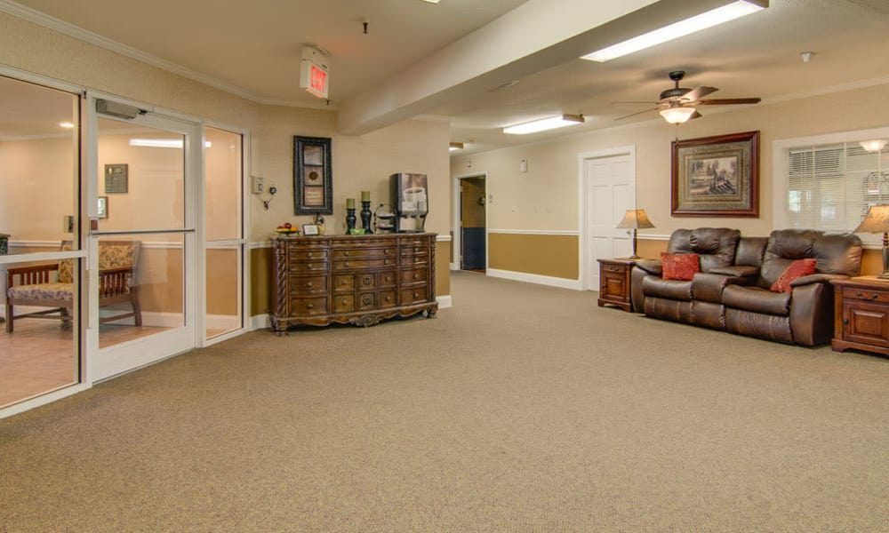 The lobby with seating at Osage Nursing Center in Osage City, Kansas