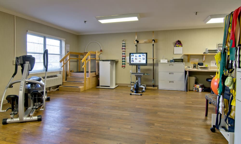 Resident fitness room at Southbrook in Farmington, Missouri