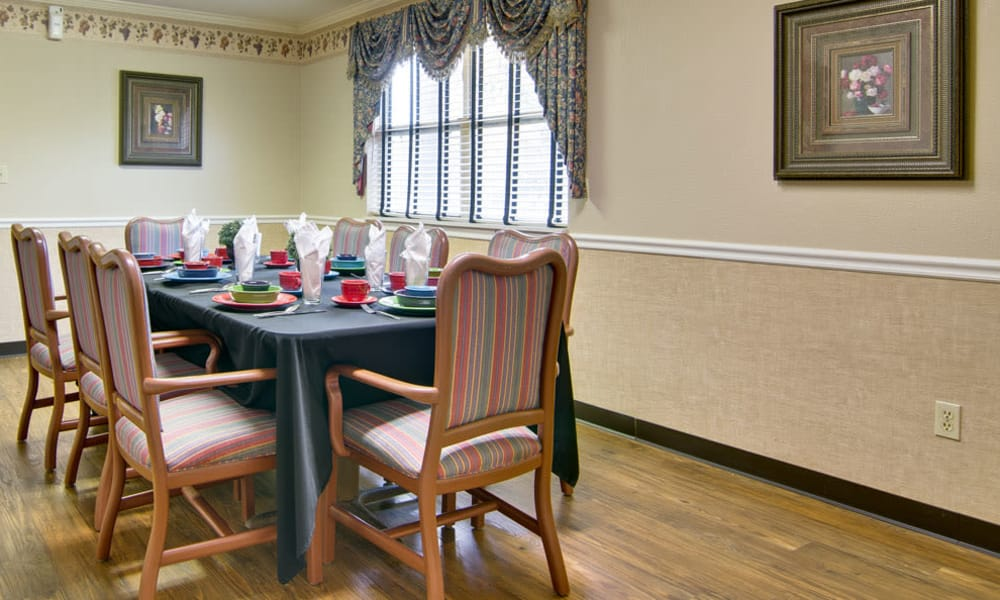 Private dining room at Heritage Nursing Center in Kennett, Missouri