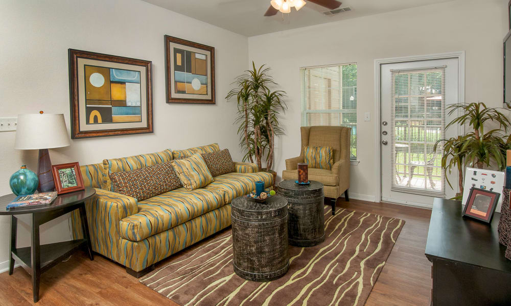 Cozy living room at Sunrise Canyon in Universal City, Texas