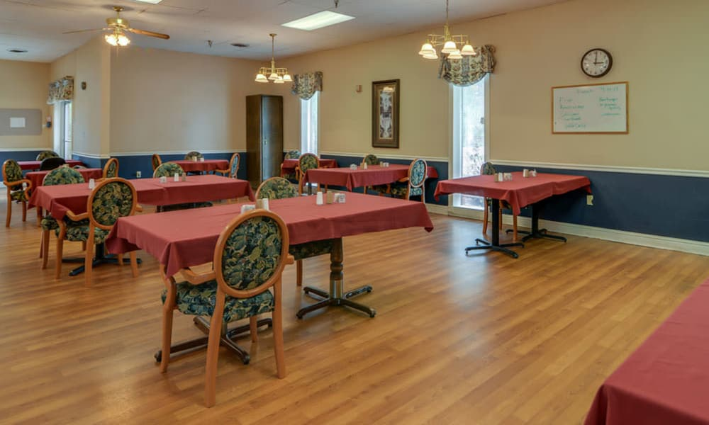 Dining area at the center of Birch Tree Place in Birch Tree, Missouri