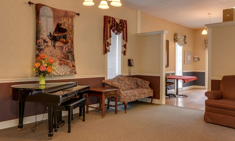 Music corner in the dining hall at Birch Tree Place in Birch Tree, MO