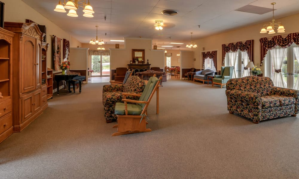 Entertainment room with comfortable seating at Birch Tree Place in Birch Tree, Missouri
