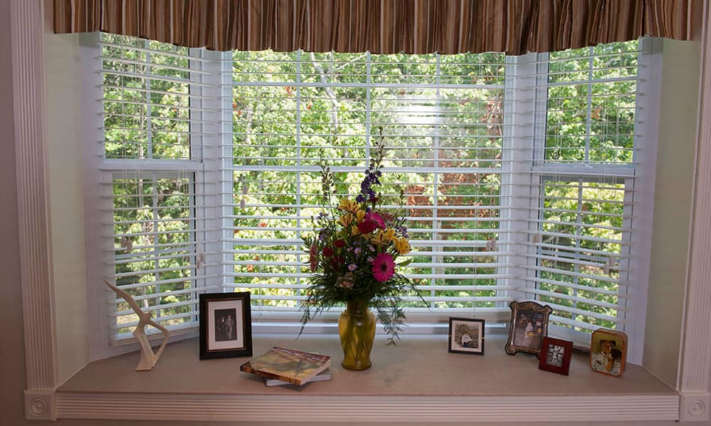 Resident's bedroom window of The Neighborhoods by TigerPlace in Columbia, Missouri