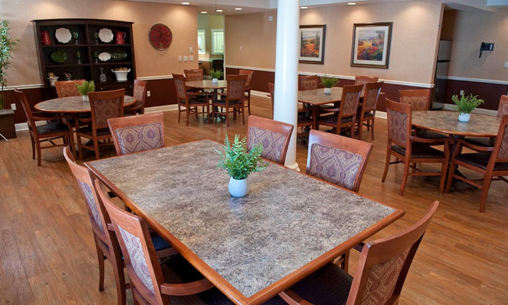 Dining area at the center of The Neighborhoods by TigerPlace in Columbia, Missouri