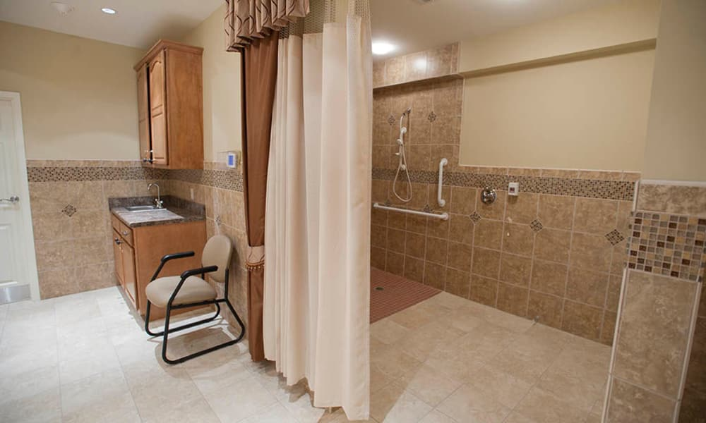 Large, accessible shower at The Neighborhoods by TigerPlace in Columbia, Missouri