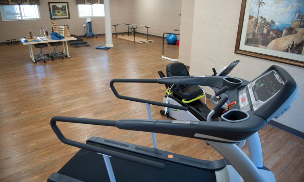 Exercise equipment in the physical therapy room at The Neighborhoods by TigerPlace in Columbia, Missouri
