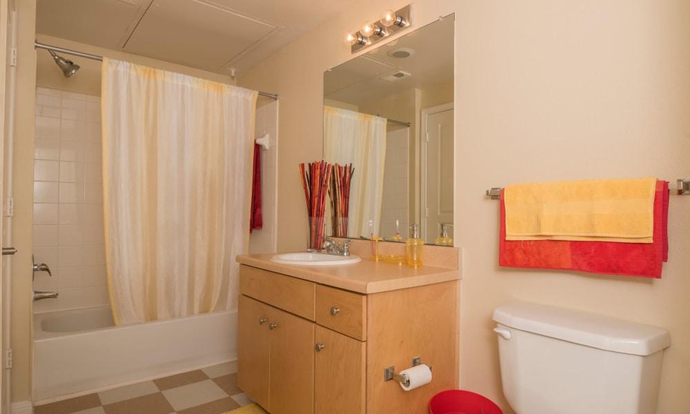 Spacious bathroom at Cambria Cove Apartments in Houston, Texas