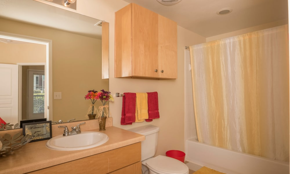 Large bathroom at Cambria Cove Apartments in Houston, Texas