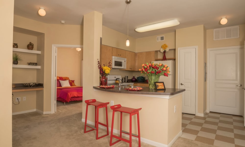 Kitchen and dining area at Cambria Cove Apartments in Houston, Texas