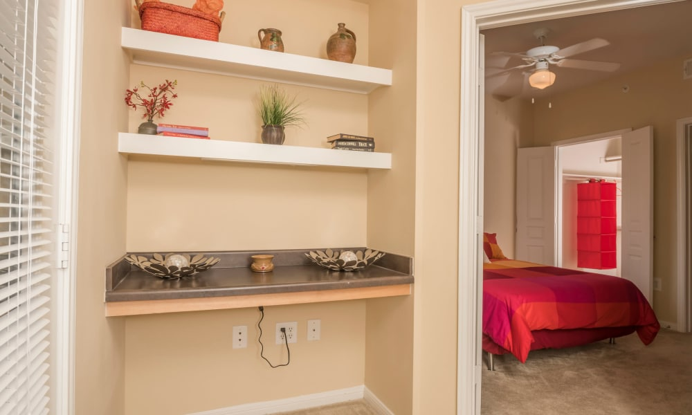 Storage shelves at Cambria Cove Apartments in Houston, Texas