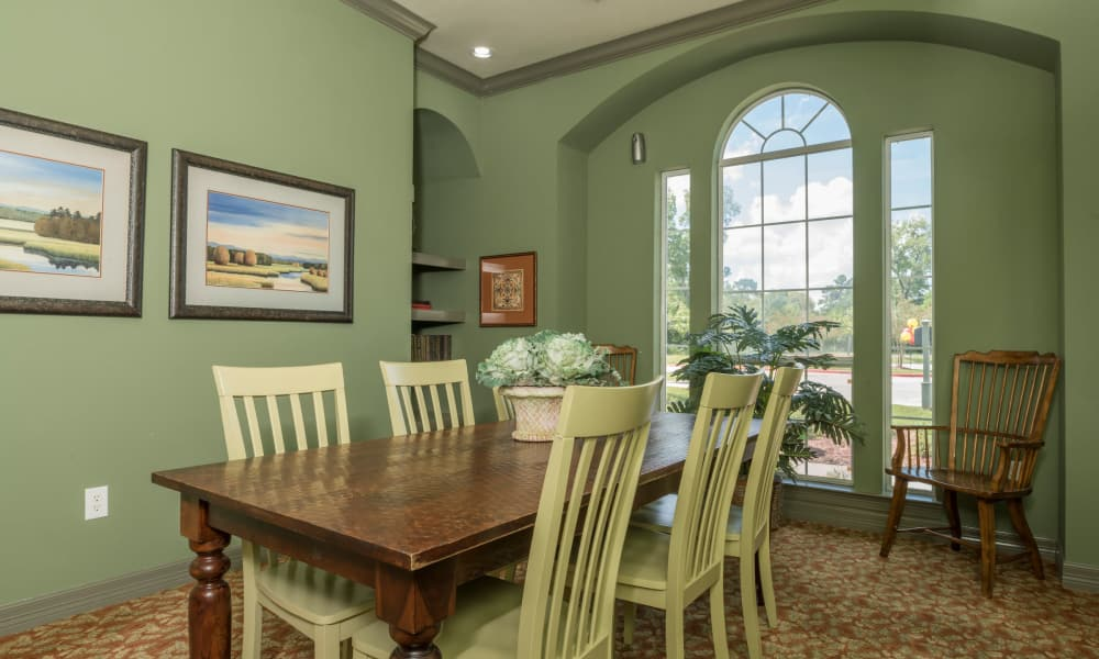 Dining room at Cambria Cove Apartments in Houston, Texas