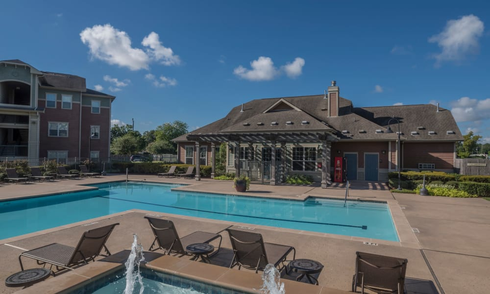 Spacious swimming pool at Cambria Cove Apartments in Houston, Texas