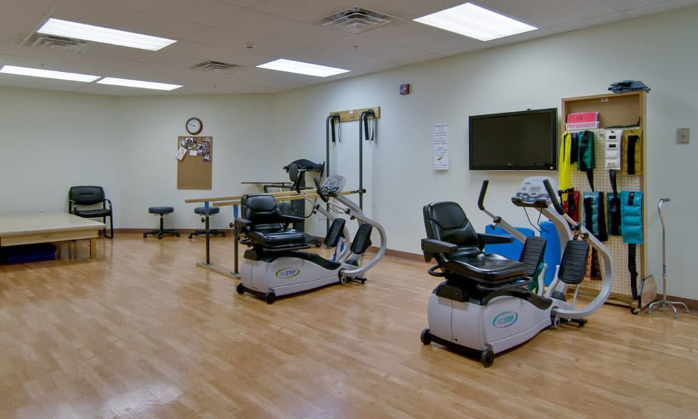 Exercise equipment in the physical therapy room at The Neighborhoods at Quail Creek in Springfield, Missouri
