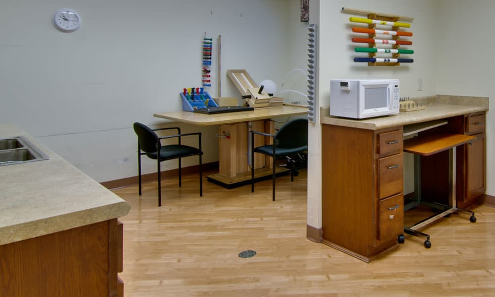 The physical therapy room at The Neighborhoods at Quail Creek in Springfield, Missouri