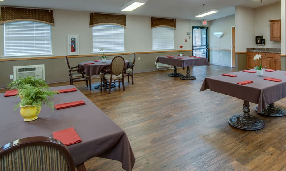 Dining area at the center of Chaffee Nursing Center in Chaffee, Missouri