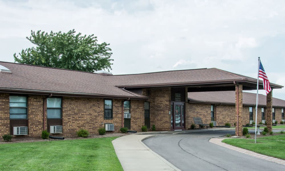 The main entrance at Chaffee Nursing Center in Chaffee, Missouri