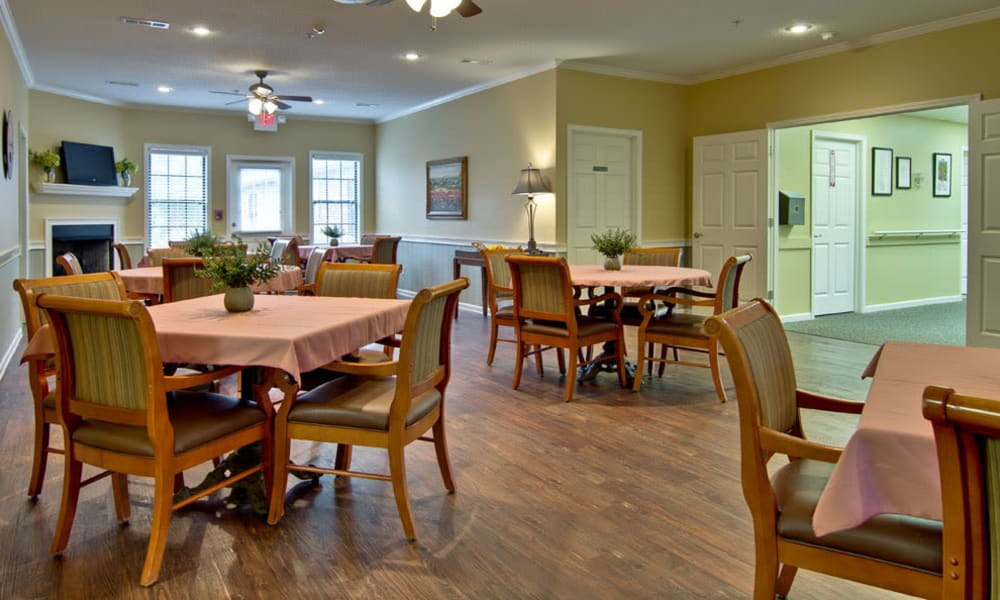 Dining area at the center of Montgomery Gardens in Starkville, Mississippi