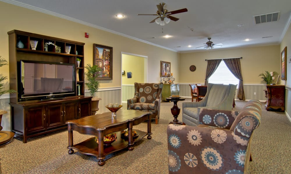 Entertainment room with comfortable seating at Montgomery Gardens in Starkville, Mississippi