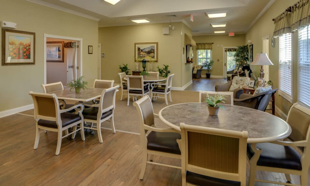Dining area at the center of Springfield Heights in Springfield, Tennessee