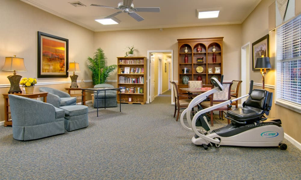 Quiet reading and exercise room at Parkway Cove in Covington, Tennessee
