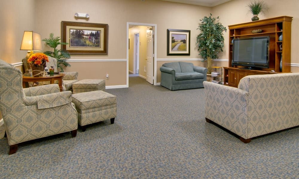 Entertainment room with comfortable seating at Parkway Cove in Covington, Tennessee