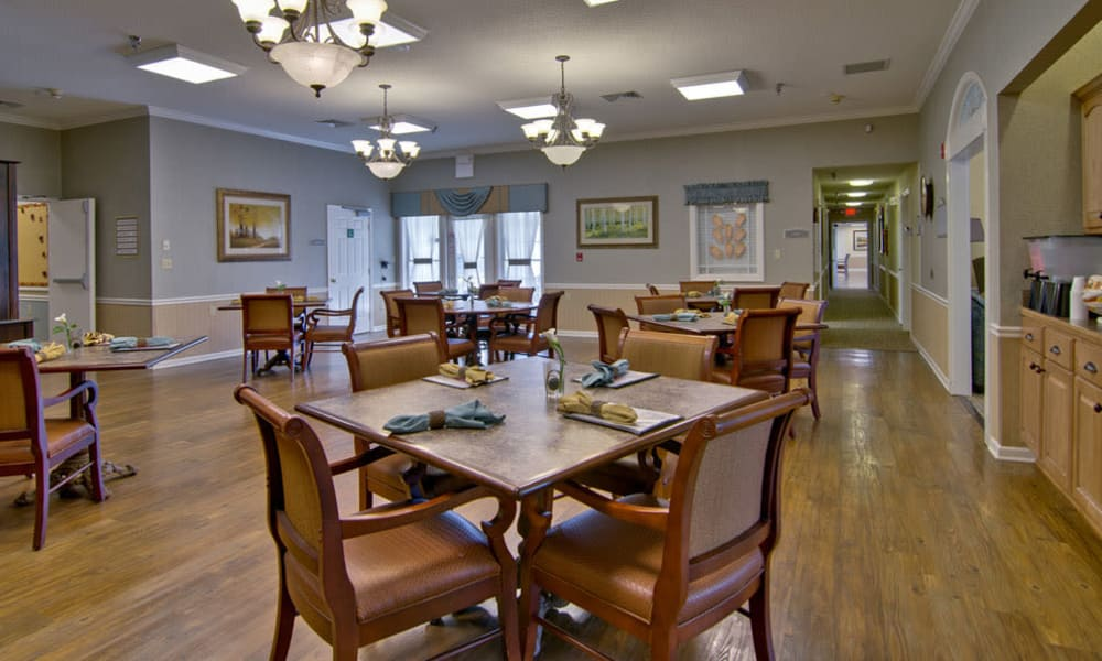 Dining area at the center of Churchill Terrace in Fulton, Missouri