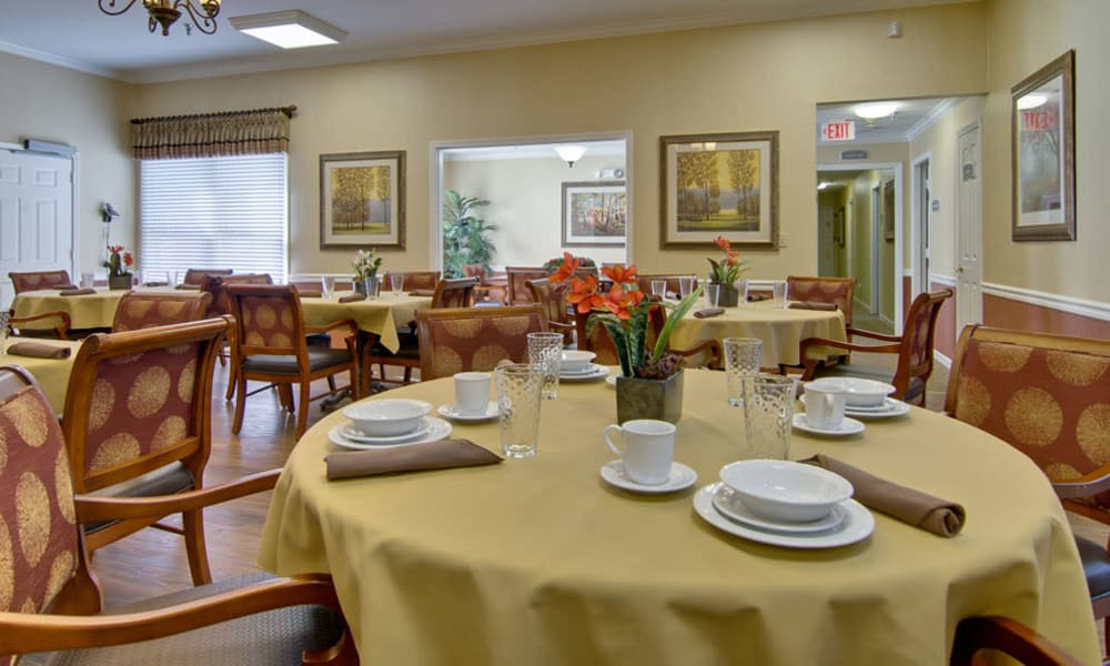 Dining area at the center of Greenbrier Meadows in Martin, Tennessee