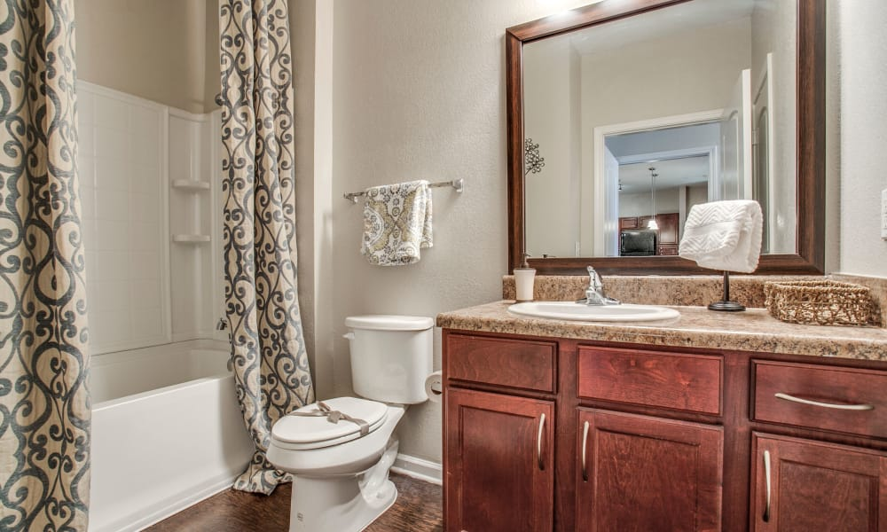 Spacious bathroom at Overlook at Stone Oak Park in San Antonio, Texas
