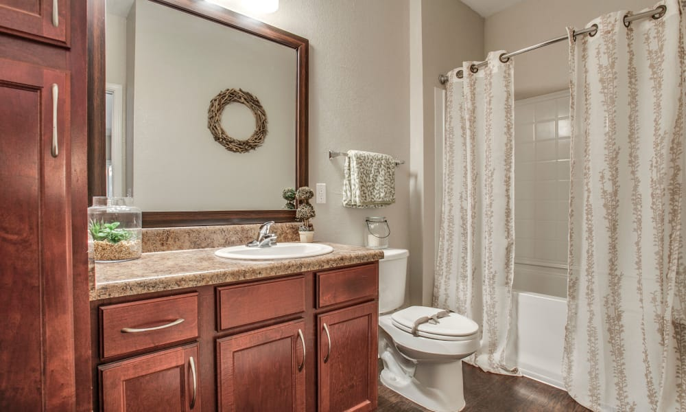 Newly renovated bathroom at Overlook at Stone Oak Park in San Antonio, Texas