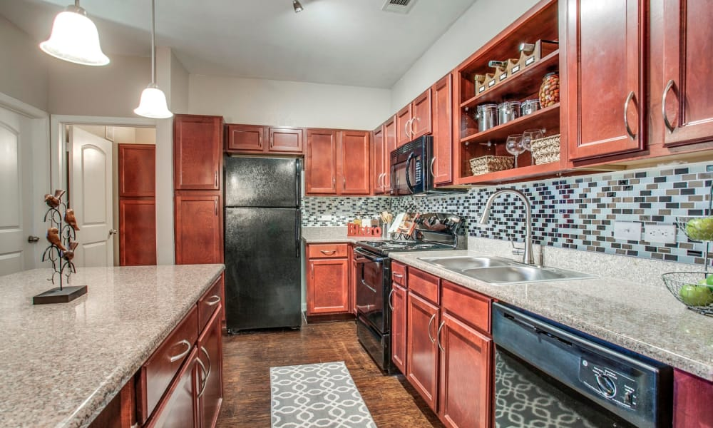 Newly renovated kitchen at Overlook at Stone Oak Park in San Antonio, Texas
