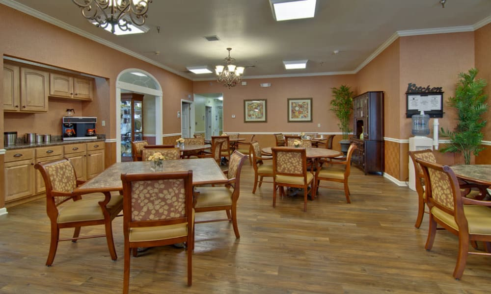 Dining area at the center of Bradford Court in Nixa, Missouri