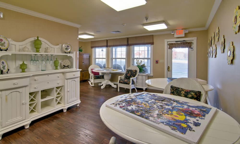 Community game room at Eiffel Gardens in Paris, Tennessee