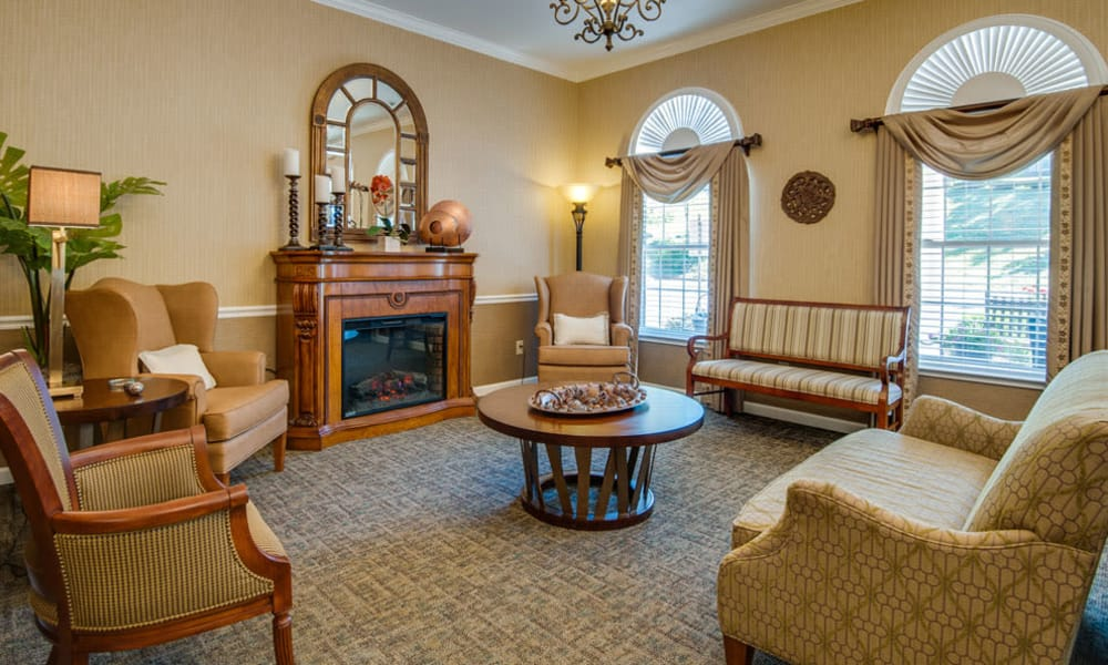 Lounge with fireside seating at Riverview Terrace in McMinnville, Tennessee