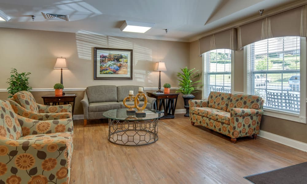 Comfortable seating in the lobby at Riverview Terrace in McMinnville, Tennessee