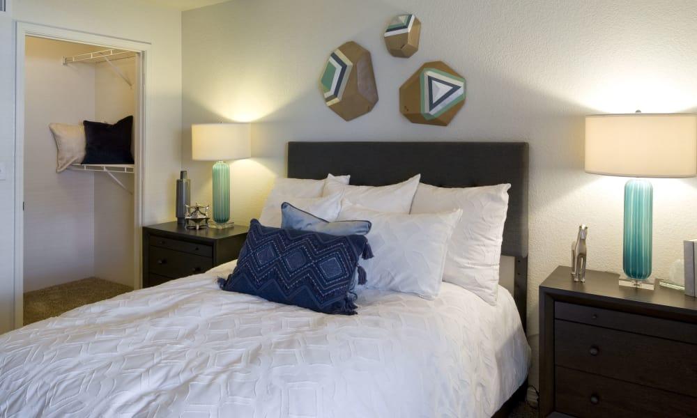 Cozy bedroom at La Ventana Apartment Homes