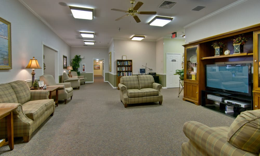 Entertainment room with comfortable seating at Park View Meadows in Murfreesboro, Tennessee