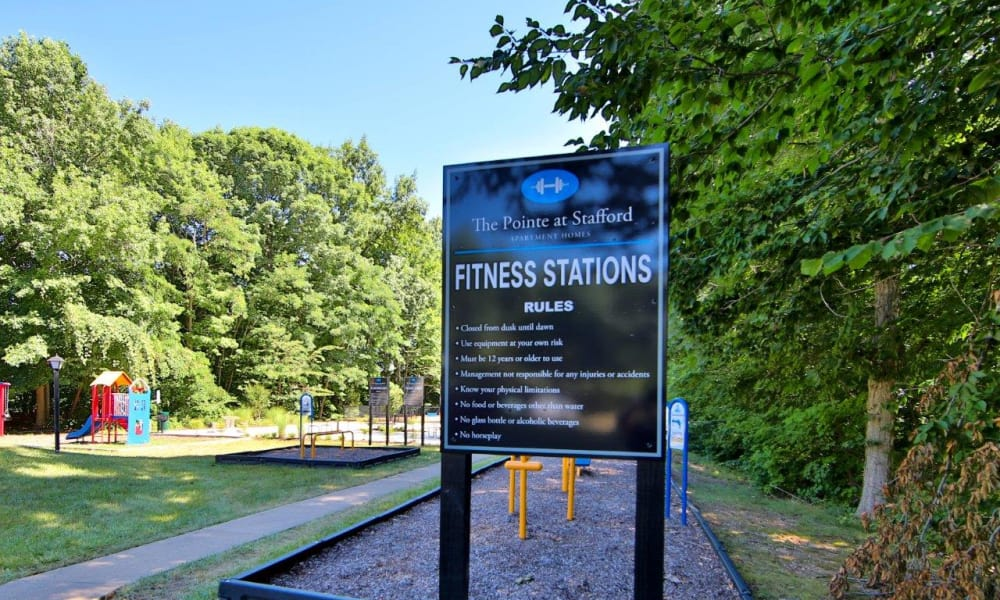 Exterior Fitness center at The Pointe at Stafford Apartment Homes in Stafford, Virginia